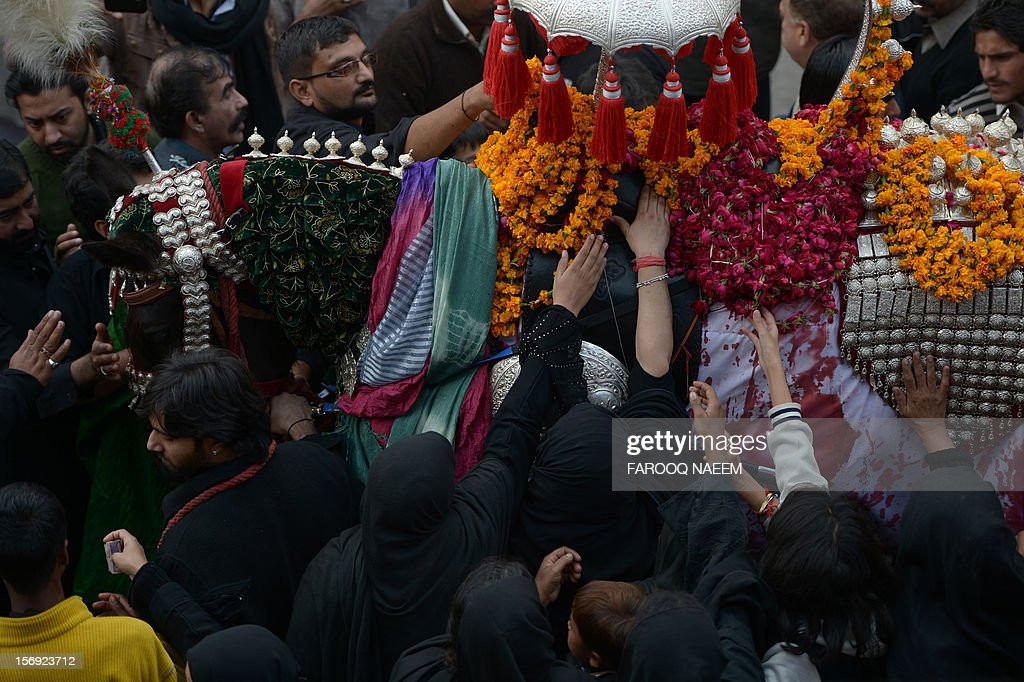 Pakistani Shiite Muslims touch the symbolic hourse of the Prophet Mohammed's grandson Imam Hussein during a religious procession in Rawalpindi on November 25, 2012. A bomb attack on a Shiite Muslim procession killed five mourners and wounded more than 80 in northwest Pakistan on November 25 as Shiites marked their holiest day Ashura, officials said.