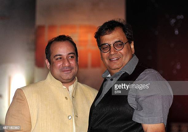 Pakistani singer Rahat Fateh Ali Khan and Indian Bollywood director Subhash Ghai pose during a promotional event for upcoming Hindi film 'Hero' in...