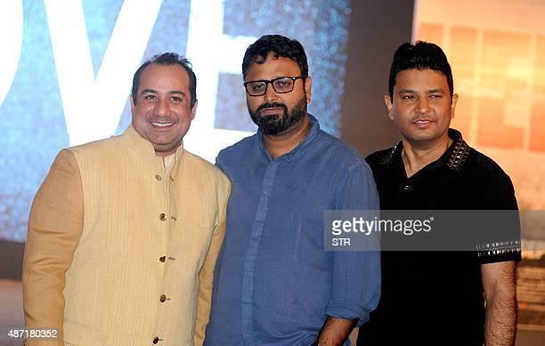 Pakistani singer Rahat Fateh Ali Khan Indian Bollywood director Nikhil Advani and producer Bhushan Kumar pose during a promotional event for upcoming...