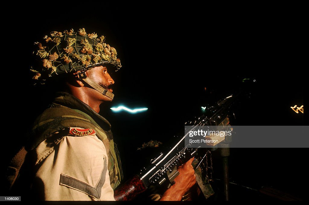 Pakistani soldier patrols the streets May 4 1993 in Mogadishu Somalia Following the departure of US forces UN troops continue the humanitarian...