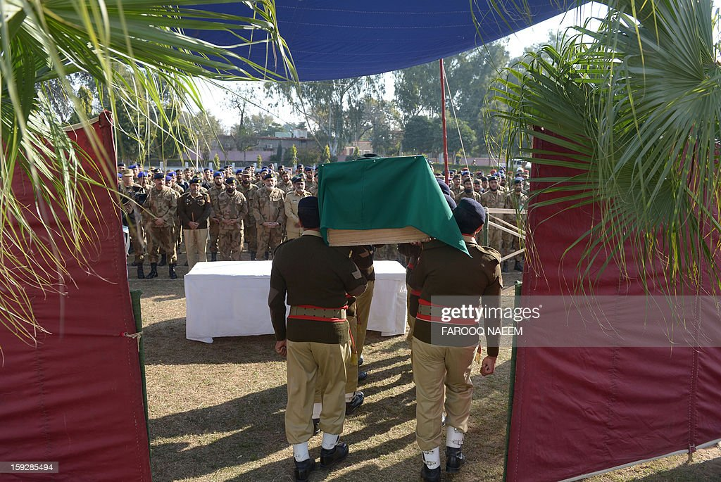 Pakistani soldiers carry the coffin of their fallen comrade Havildar (Sargeant) Mohyuddin, who was allegedly shot by Indian troops at the Hotspring sector in Battal in Pakistan-administered Kashmir, during his funeral in Jhelum some 100 kms of Islamabad on January 11, 2013. Pakistan said one of its soldiers was killed January 10 by 'unprovoked' Indian firing across their tense border in Kashmir, the third deadly incident reported in five days in the disputed region.