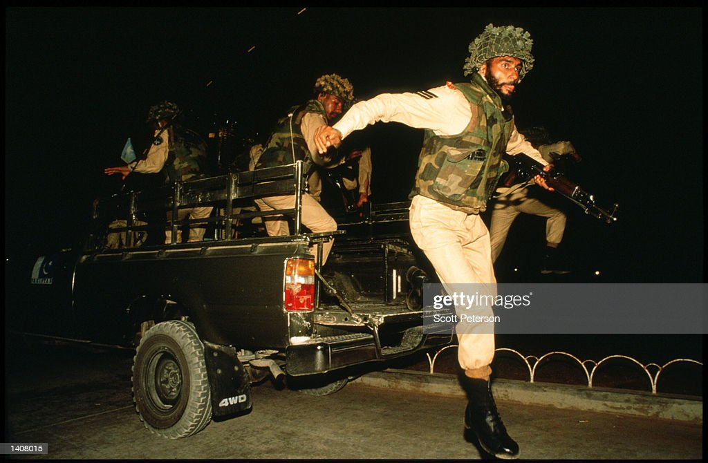 Pakistani soldiers patrol the streets May 4 1993 in Mogadishu Somalia Following the departure of US forces UN troops continue the humanitarian...