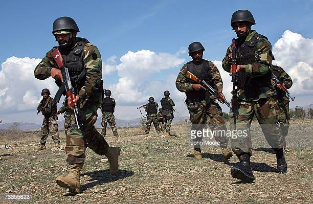 Pakistani special forces train in Miran Shah February 17 2007 in the tribal area of North Waziristan Pakistan NATO and the Afghan government say that...