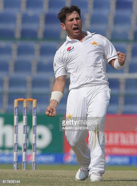 Pakistani spinner Yasir Shah celebrates on the final day of the second Test between Pakistan and the West Indies at the Sheikh Zayed Cricket Stadium...