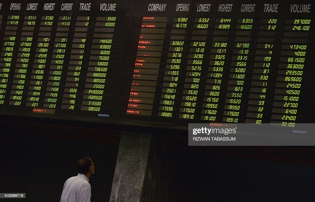 A Pakistani stockbroker watches index board during a trading session at the Pakistan Stock Exchange (PSE) in Karachi on June 28, 2016. The benchmark PSE-100 index was 36877.86, down 161.71 points in the morning session as global markets reeled from the Brexit-induced financial and political chaos. / AFP / RIZWAN