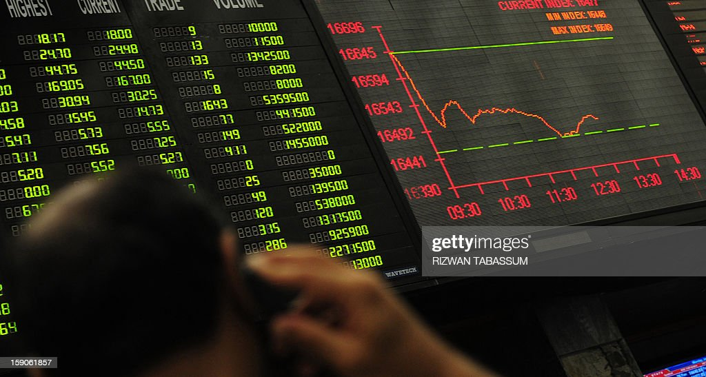 A Pakistani stockbroker watches the latest share prices on digital board during a trading session at the Karachi Stock Exchange (KSE) in Karachi on January 7, 2013. The benchmark KSE-100 index was 16474.44, down 174.44 points in mid of the day's session. AFP PHOTO/ Rizwan TABASSUM