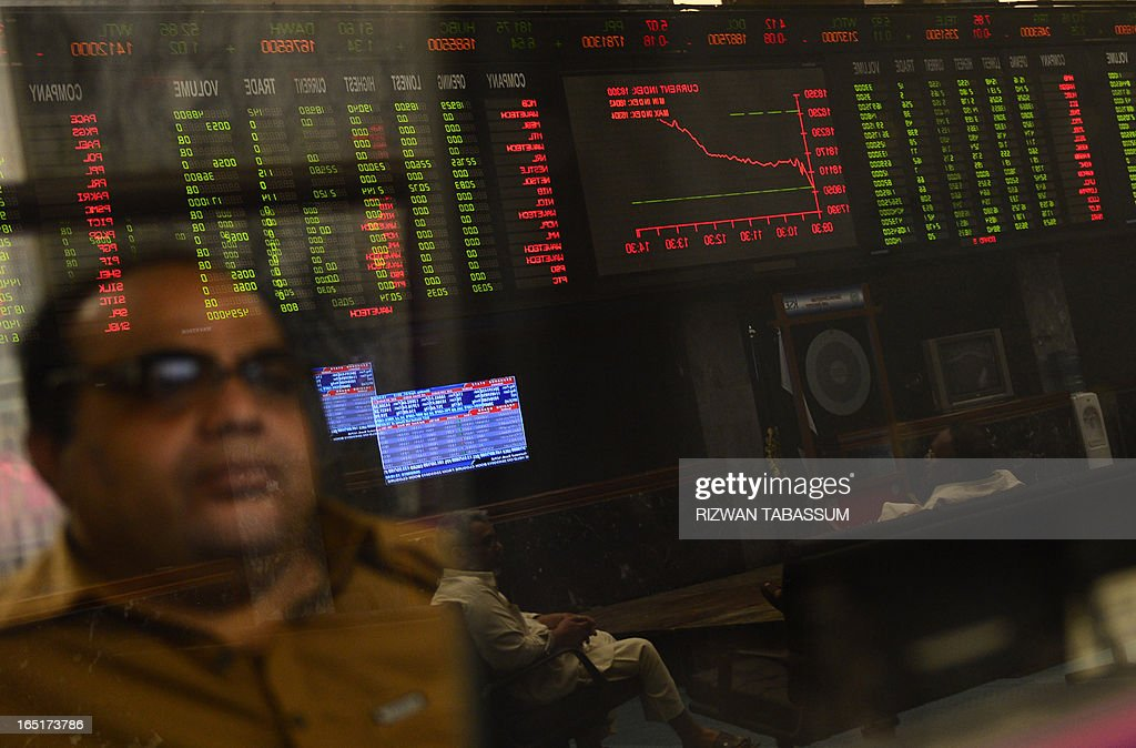 Pakistani stockbrokers are reflected in a mirror as they monitor share prices during a trading session at the Karachi Stock Exchange (KSE) in Karachi on April 1, 2013. The benchmark KSE-100 index was 18292.07, with an increase of 248.76 points in mid of the day's session. AFP PHOTO/Rizwan TABASSUM