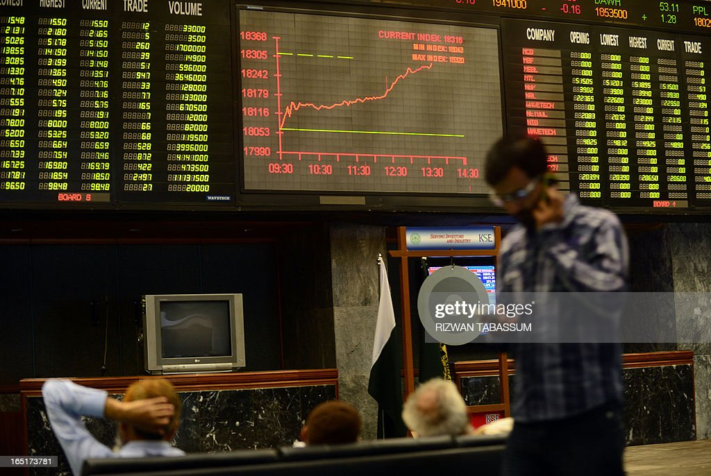 Pakistani stockbrokers monitor share prices during a trading session at the Karachi Stock Exchange (KSE) in Karachi on April 1, 2013. The benchmark KSE-100 index was 18292.07, with an increase of 248.76 points in mid of the day's session. AFP PHOTO/Rizwan TABASSUM