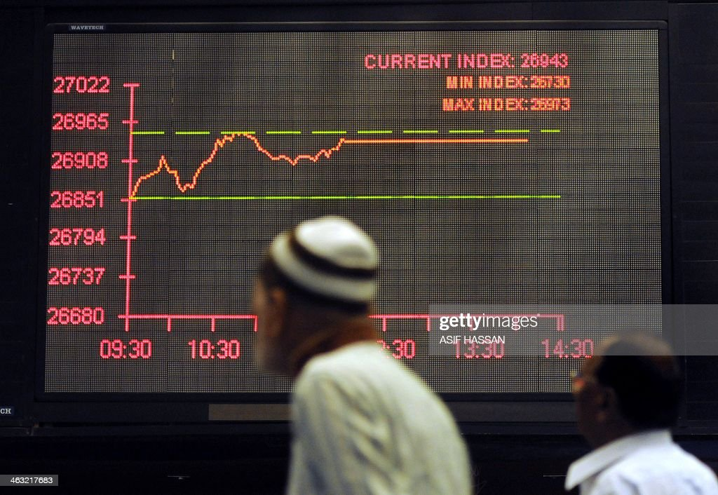 Pakistani stockbrokers monitor the digital index board during a trading session at the Karachi Stock Exchange (KSE) on January 17, 2014. The benchmark KSE-100 index 26913.85, with increase of 183.61 points at end of the day. AFP PHOTO / Asif HASSAN