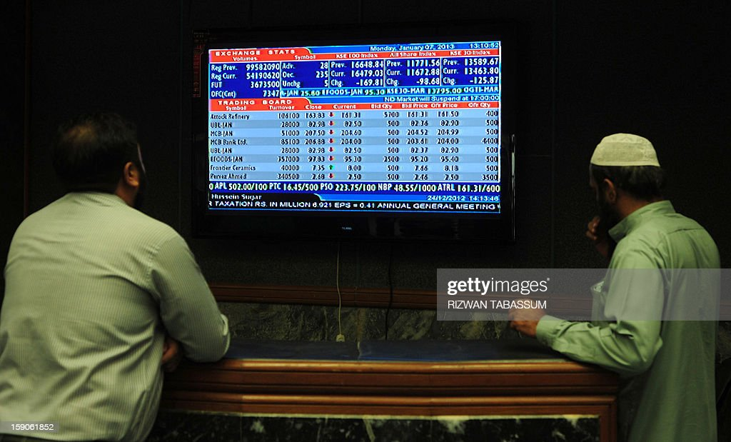 Pakistani stockbrokers watch the latest share prices on a monitor during a trading session at the Karachi Stock Exchange (KSE) in Karachi on January 7, 2013. The benchmark KSE-100 index was 16474.44, down 174.44 points in mid of the day's session. AFP PHOTO/ Rizwan TABASSUM