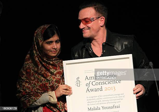 Pakistani student who was shot in the head by the Pakistani Taliban Malala Yousafzai receives the Amnesty International Ambassador of Conscience...