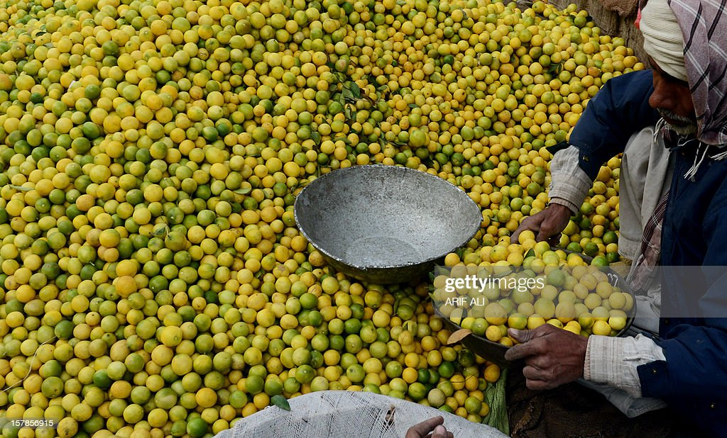 A Pakistani vendor sells lemons at a fruit market in Lahore on December 7, 2012. Pakistan's growth remains too weak, underlying inflation is high and the trade balance is heading in the wrong direction, the IMF said. AFP PHOTO/Arif ALI