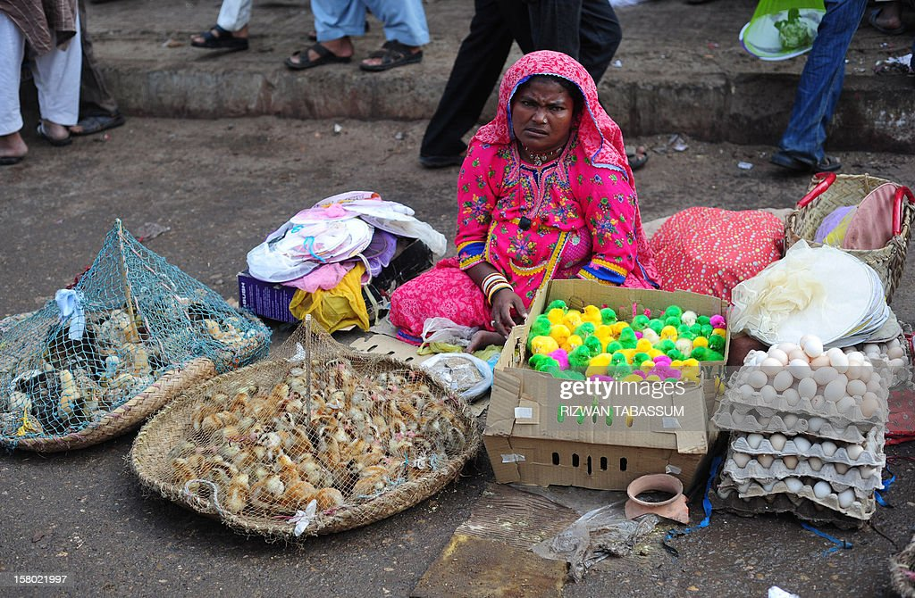 A Pakistani woman sells colorful chicks on a street in Karachi on December 9, 2012. Pakistan's growth remains too weak, underlying inflation is high and the trade balance is heading in the wrong direction, the IMF said in a statement. AFP PHOTO/Rizwan TABASSUM
