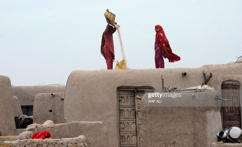 Pakistani women refine wheat grain ontop of their house roof in Lahore on February 3, 2013. Year-on-year inflation stood at 6.9 percent in November, the State Bank of Pakistan said in a statement, a faster fall than had been estimated. Food inflation dropped to 5.3 percent and non-food inflation to 8.1 percent. AFP PHOTO/Arif ALI