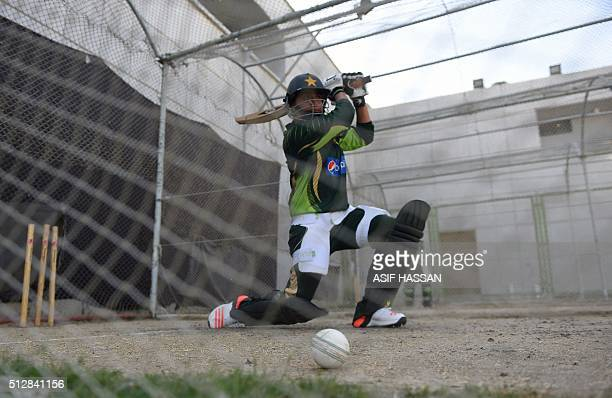 Pakistani women's team cricket captain Sana Mir play a shot on the first day of a training camp in Karachi on February 28 2016 Sana Mir will lead a...