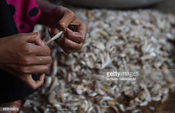 A Pakistani worker cleans shrimp at a small trader house on the outskirts of Karachi on October 20 2015 AFP PHOTO / RIZWAN TABASSUM