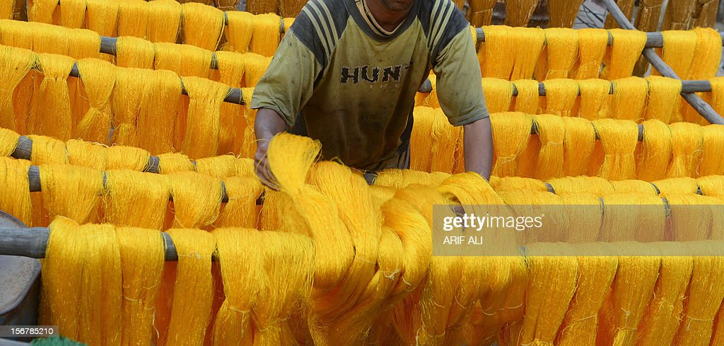 A Pakistani workers dries thread after dyeing at a factory in Lahore on November 20, 2012. The country is the world's fourth-largest producer of cloth and the industry accounts for 60 percent of export revenue according to official data. But shortages are heaping pressure on Pakistan's crippled and debt-ridden economy. AFP PHOTO/Arif ALI