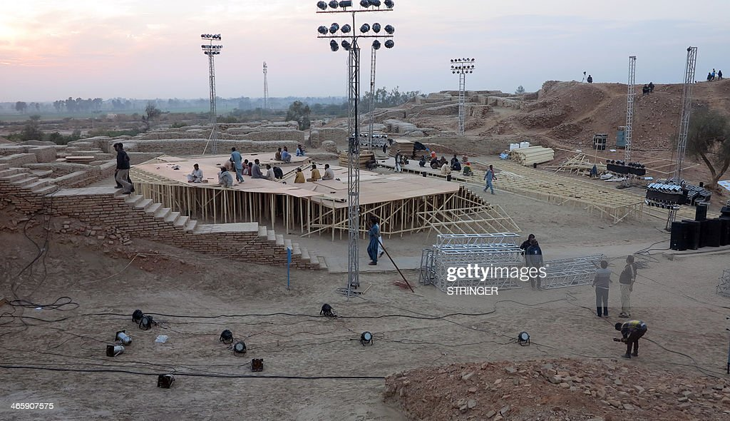 Pakistani workers prepare a stage around the ancient ruins ahead of the cultural heritage festival in Mohenjo Daro, the UNESCO World Heritage site around 425 kilometres north of the port city of Karachi, on January 30, 2014. A festival to commemorate Pakistan's cultural heritage spearheaded by the scion of the Bhutto family could put the ruins of one of the world's ancient civilisations at risk, experts warned. Bilawal Bhutto Zardari, the heir to slain former prime minister Benazir Bhutto, has launched a campaign to conserve the heritage of his home province of Sindh with a two-week festival due to begin on February 1.