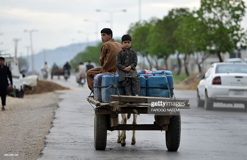 Pakistani youth transport containers of water on their donkey cart on the outskirts of Islamabad on April 18, 2014. AFP PHOTO/Farooq NAEEM