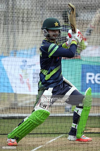 Pakistan's Ahmad Shahzad bats during a training session ahead of their 2015 Cricket World Cup Group B match against United Arab Emirates in Napier on...