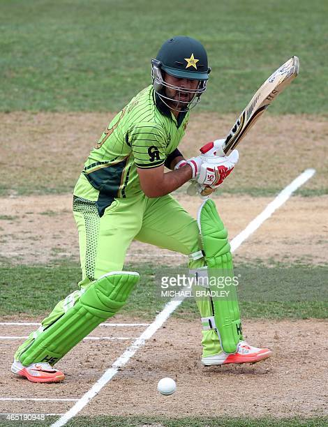 Pakistan's Ahmed Shehzad plays a shot during the Pool B Cricket World Cup match between United Arab Emirates and Pakistan at McLean Park in Napier on...