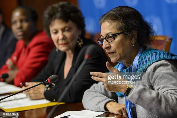Pakistan's Asma Jahangir gestures next to France's Christine Chanet and Unity Dow of Botswana during a press conference on January 31 2013 on the...