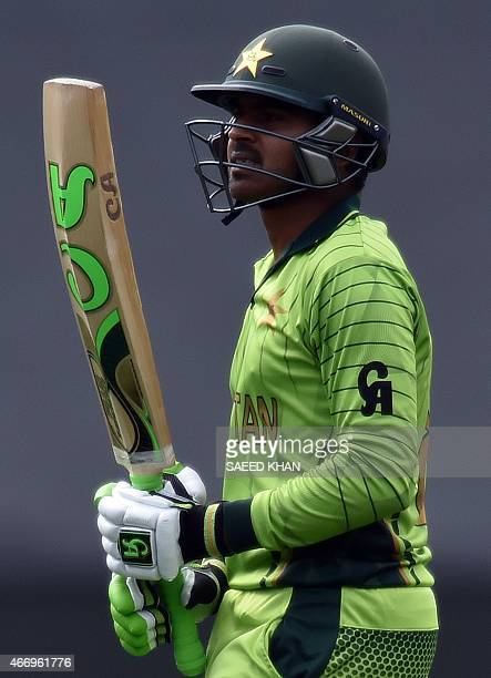Pakistan's batsman Haris Sohail walks off the ground following his dismissal during the 2015 Cricket World Cup quarterfinal match between Pakistan...