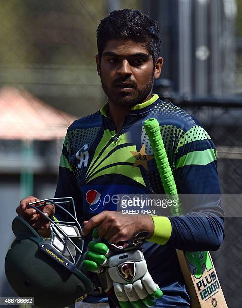 Pakistan's batsman Harris Sohail prepares to bat during a nets practice in Adelaide on March 19 ahead of Pakistan's 2015 Cricket World Cup...
