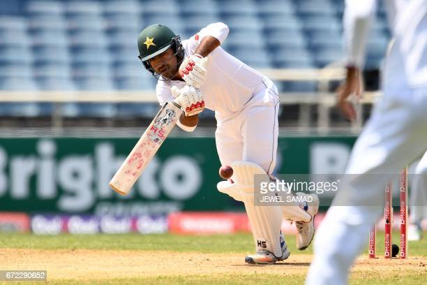 Pakistan's batsman Sarfraz Ahmed plays a shot on day four of the first Test match between West Indies and Pakistan at the Sabina Park in Kingston...