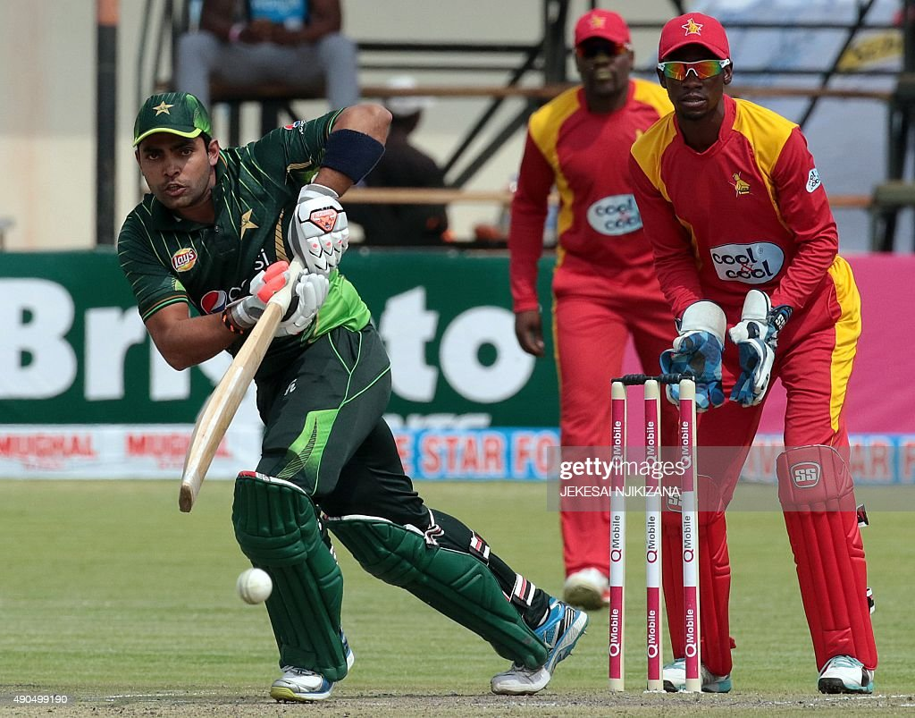 Pakistan's batsman Umar Akmal plays a shot during the second of two T20 cricket matches between Zimbabwe and Pakistan at Harare Sports Club on...