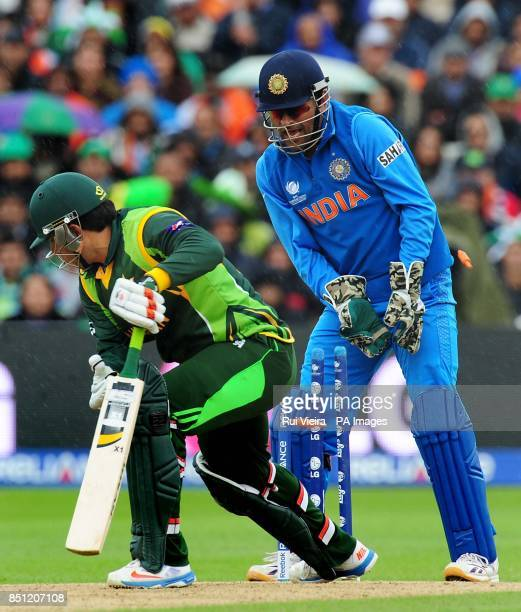 Pakistan's captain MisbahulHaq bowled by India's Ravindra Jadeja for 22 during the ICC Champions Trophy match at Edgbaston Birmingham