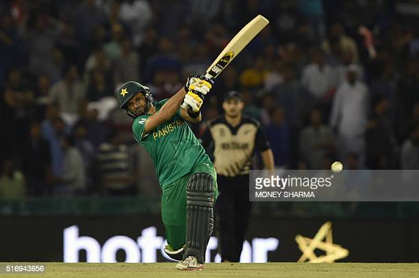 Pakistan's captain Shahid Afridi bats during the World T20 cricket match between New Zealand and Pakistan at the Punjab Cricket Stadium Association...