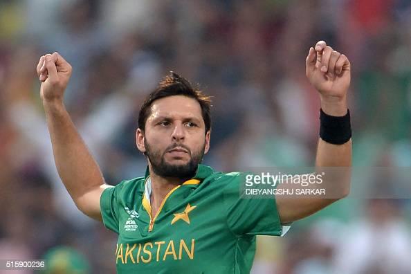 Pakistan's captain Shahid Afridi celebrates after the dismissal of Bangladesh's batsman Sabbir Rahman during the World T20 cricket tournament match...