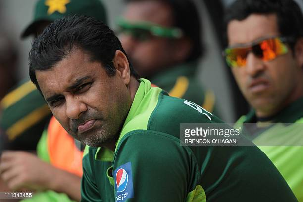 Pakistan's coach Wakar Younis during the first one day international match between New Zealand and Pakistan at the Westpac stadium in Wellington on...