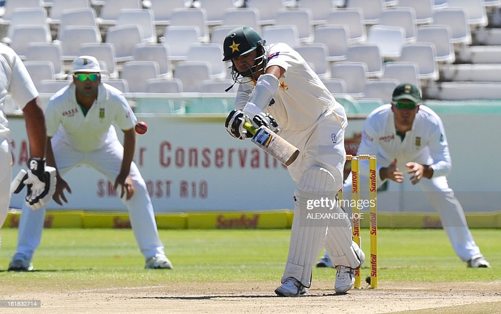 Pakistan's cricketer Azhar Ali plays a shot off the bowled of unseen South African cricketer Dale Steyn on Day 4 of the Second Test between South Africa and Pakistan at Newlands in Cape Town, on February 17, 2013.