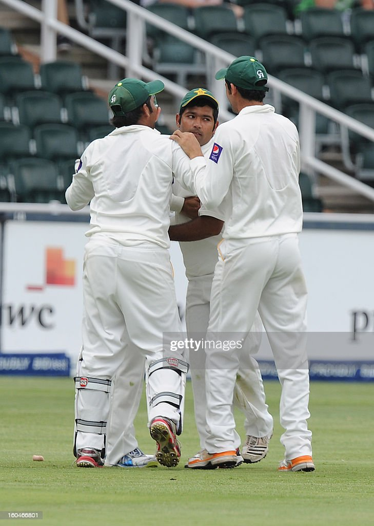 Pakistan's fielder Shafiq Asad celebrates the wicket of South Africa's Jacques Kallis on February 1, 2013 during the first Test at Wanderers Stadium in Johannesburg.