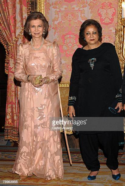 Pakistan's First Lady Sehba Musharraf and Spanish Queen Sofia attend a reception before dinner on April 24 2007 at the Royal Palace in Madrid Spain