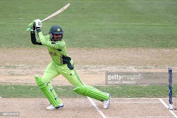 Pakistan's Haris Sohail plays a shot during the Pool B Cricket World Cup match between the United Arab Emirates and Pakistan at McLean Park in Napier...