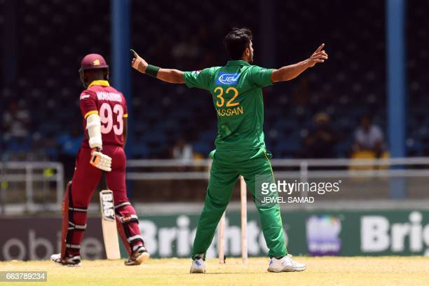 Pakistan's Hasan Ali celebrates after bowling out West Indies' Jason Mohammed during the final of fourT20Imatch between West Indies and Pakistan at...