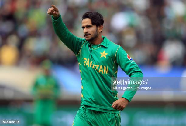 Pakistan's Hasan Ali celebrates catching out South Africa's Kagiso Rabada during the ICC Champions Trophy Group B match at Edgbaston Birmingham