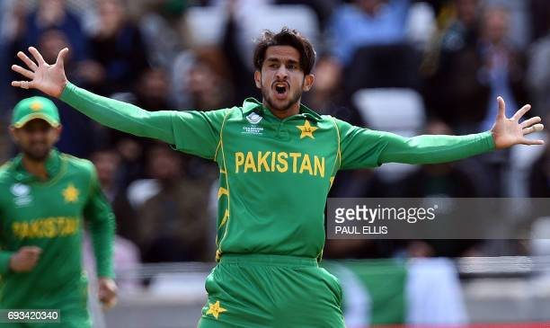 Pakistan's Hasan Ali celebrates taking the wicket of South Africa's Faf du Plessis for 26 runs during the ICC Champions trophy match between Pakistan...
