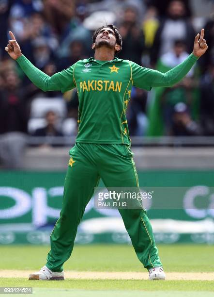 Pakistan's Hasan Ali celebrates taking the wicket of South Africa's JP Duminy for 8 runs during the ICC Champions trophy match between Pakistan and...