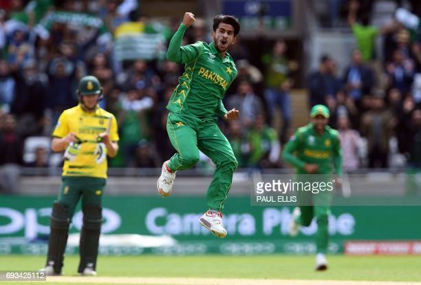 Pakistan's Hasan Ali celebrates taking the wicket of South Africa's Wayne Parnell for 0 runs during the ICC Champions trophy match between Pakistan...