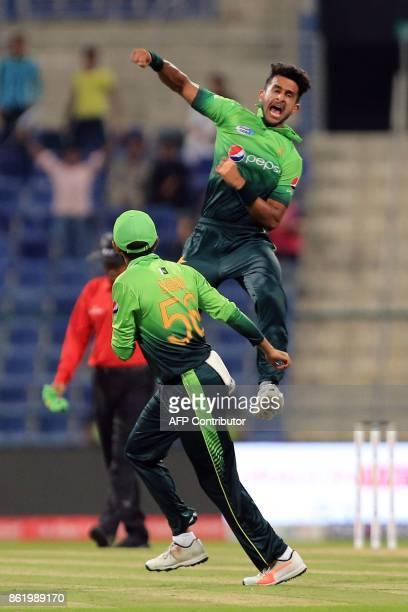 Pakistan's Hassan Ali celebrates after dismissing Sri Lanka's Kusal Mendis during the second one day international cricket match between Sri Lanka...