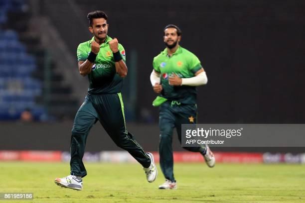 Pakistan's Hassan Ali celebrates after dismissing Sri Lanka's Sri Lanka's Kusal Mendis during the second one day international cricket match between...