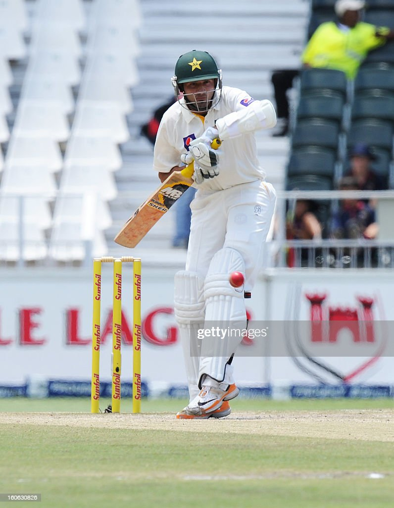 Pakistan's Junaid Khan bats on February 4, 2013 on day four of the first Test match against South Africa at Wanderers stadium in Johannesburg.