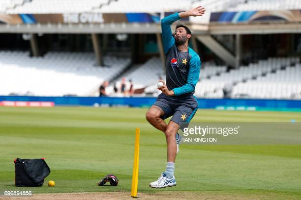 Pakistan's Junaid Khan bowls during a nets practice session at The Oval in London on June 17 on the eve of the ICC Champions Trophy Final cricket...