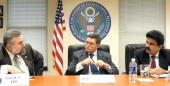 Pakistan�s minister for minorities Shahbaz Bhatti listens at a meeting of the US Commission on International Religious Freedom to commissioners Talal...