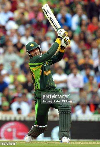 Pakistan's MisbahulHaq hits a six during the ICC Champions Trophy match at The Oval London