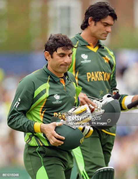 Pakistan's MisbahulHaq reacts as he leaves the field after scoring 96 not out during the ICC Champions Trophy match at The Oval London